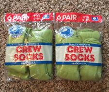 Lot Of 2 Packs Vintage Deadstock Cotton Natural Blend Green Sock Made In USA