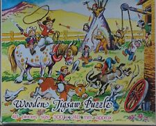 Vintage Wooden Jigsaw Puzzle - Cowboys and Indians 48 Peices