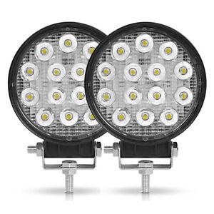 2X 42W Round 14 LED Work Light Spot Offroad Driving Fog Lamp 4WD SUV ATV UTV 4X4