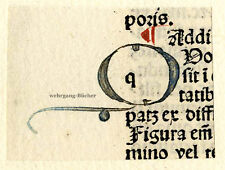 "Inkunabel -/Alter Druck-Fragment, gemalte Initiale ""Q"" um 1500"