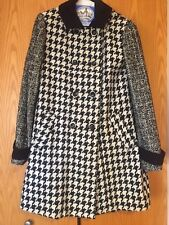 Women's Express Black & White Houndstooth Knee Length Formal Coat Size Small