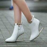 Womens Pointy Toe Crystal Wedge High Heels Side Zip Leather Ankle Boots Shoes Sz