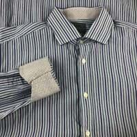 Thomas Dean Dress Shirt Mens XL Flip Cuff Blue Striped Button Up Shirt