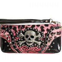 Skull & Crossbones Wristlet Wallet Light Pink & Black New Wrist Strap