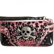 Skull & Crossbones Wristlet Wallet Light Pink & Black with Wrist Strap New