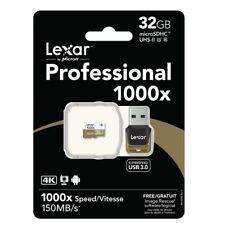 32GB Lexar Micro-sd 1000x TF150MB/S SDHC Class10 Uhs-Ii U3 Tf Tarjeta +USB3.0