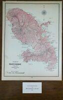 """Vintage 1902 MARTINIQUE Map 11""""x14"""" ~ Old Antique Original SAINT MARIE MAPZ"""