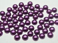 200 Dark Purple Half Pearl Beads 10mm Flat Back Round Gems Scrapbook Craft