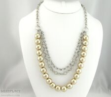 VINTAGE STYLE IMITATION PEARLS MULTI STRAND RHINESTONES SILVER TONE NECKLACE