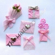 6 Flowers envelopes hearts Valentine Embellishments baby girl Cards Scrapbooking