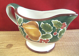 Pear Fruit Holly Christmas Holiday Serving Gravy Boat Ceramic 3 cups M8