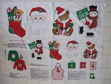 Vintage VIP Cranston MERRY CHRISTMAS APPLIQUES Sewing Fabric Panel Santa Snowman