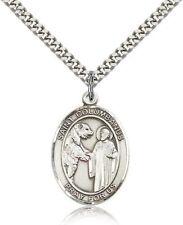 Sterling Silver Saint Columbanus Pendant Medal, 1 Inch