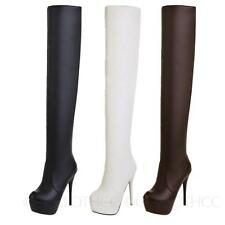 Womens Stiletto heels boots Sexy Thigh high Long Faux Leather Shoes Sz 13-1 CCC
