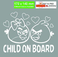 Child On Board Angry Birds Car Sticker/Personalisation And Colours Available