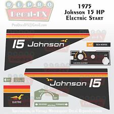 1975 Johnson 15 HP Electric Start Outboard Reproduction 9 Pc Marine Vinyl Decal