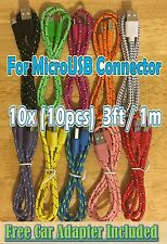 10x LOT 3ft 1M Braided MicroUSB COLOR Lot Mix Charger HTC LG SAMSUNG DROID +GIFT
