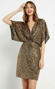 F&F Gold Knot Twist Sequin Dress Size 12 - NEW Gatsby Batwing Plunge Front