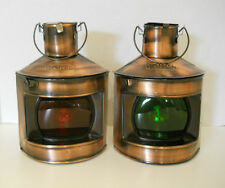 "Port & Starboard Oil Lanterns Ships Lamps Nautical Beach Maritime Decor 9"" New"