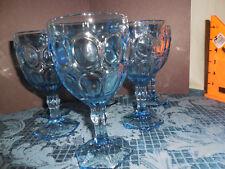 VINTAGE FOSTORIA CRYSTAL MOONSTONE LIGHT BLUE GOBLETS SET OF 6 GLASSES  EUC #2