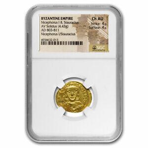 Byzantine Empire Gold Solidus Nicephorus I (803-811 AD) Ch AU NGC - SKU#227119
