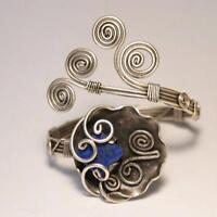Handmade Lapis Lazuli Wire Wrapped Cuff Bracelet