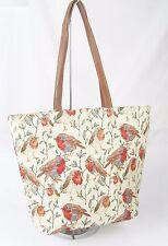 Robin Bird Design Large Sized Tapestry Hand Bag - Shoulder Bag Signare