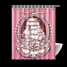 Tattoo Pink Ship Nautical Pirate Shower Curtain Rockabilly Pinup Punk Kraken Art