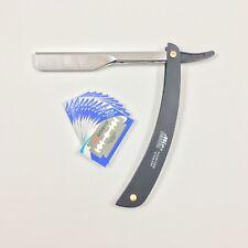 Straight Edge Barber Razor Folding Shaving Knife Stainless Steel & 10 Blades
