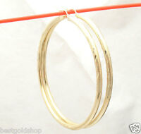 "2 3/4"" 3mm X 70mm Large Diamond Cut Hoop Earrings REAL 14K Yellow Gold Free Ship"