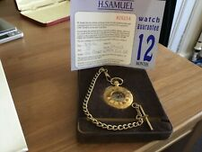 Gents Everite Swiss made skeleton pocket watch with Albert chain