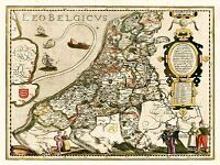 ART PRINT POSTER MAP OLD BELGIUM NORTH SEA LION LEO NOFL0667