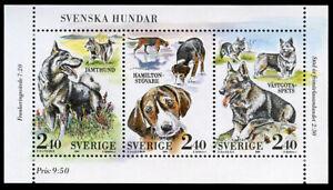 SWEDISH VALLHUND ELKHOUND HAMILTONSTOVARE SWEDEN DOG STAMP BOOKLET 1989 2 Sheets