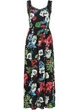 Maxi-Kleid m Spitze Gr. 32 Schwarz Bedruckt Damen Sommerkleid Freizeitkleid  Neu 3144916fc1