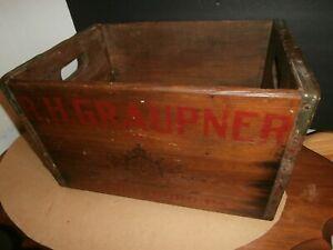 ANTIQUE WOODEN BEER BOX CRATE  ROBERT R H GRAUPNER BREWERY HARRISBURG PA