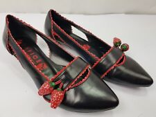 OFFICE London Womans Slip On Low Heels Shoes with Strawberry themed UK 6 VGC