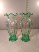 Vintage set of 2 Green Depression Glass Vase With Hand Painted Flowers Fenton