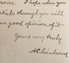 Autograph letter signed from ALGERNON CHARLES SWINBURNE To F.G. Kitton Dickens