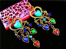 Betsey Johnson Multicolor Rhinestone love heart Women's Ear Stud Earrings