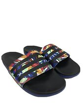 adidas Women's Black/Blue Adilette Comfort Open Toe Slide Sandals Sz 8