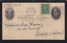 USA 1903 UPRATED POSTAL STATIONERY CARD CLEVELAND OHIO TO GENEVA SWITZERLAND
