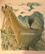 VINTAGE CALIFORNIA ART BRIDGE RAILWAY CHINESE Childrens Art Print RAILROAD WEST