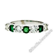 New 14K White Gold 1.33ctw Shared Prong Big Round Diamond & Emerald Band Ring