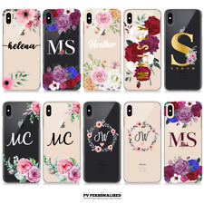 PERSONALISED INITIALS NAME FLOWER CLEAR HARD PLASTIC PHONE CASE COVER FOR IPHONE