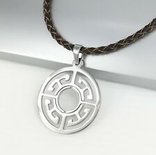 Silver Chrome Round Circle Of Life Symbol Pendant Braided Brown Leather Necklace