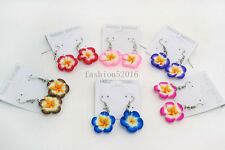 FREE Wholesale lots 6Pairs polymer clay flowers dangle Silver tone earrings