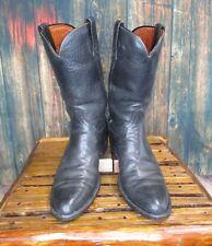 Ladies Black Leather Roper Cowboy Western Boots Sz: 9.5 B