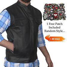 Men's SOA Black Genuine Premium Leather Anarchy Vest Motorcycle Biker FREE PATCH