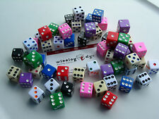 ASSORTED OPAQUE DICE 10 COLORS 20 EA  (200 PACK) 16mm BUNCO PARTY? FREE SHIPPING