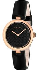 New Gucci Diamantissima Black Dial Black Leather Strap Womens Watch YA141401
